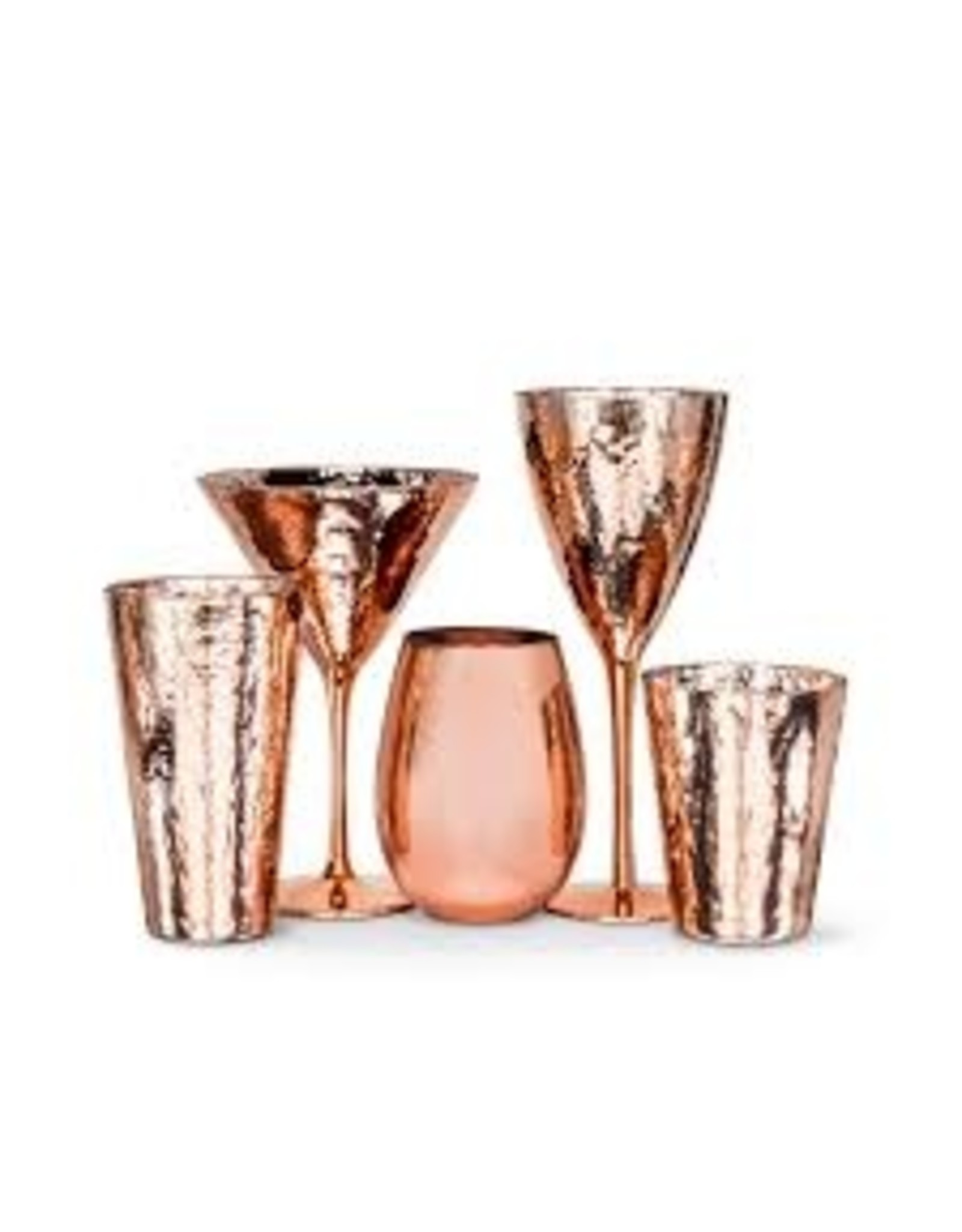 Abbott Hammer Finish Goblet Copper Glass