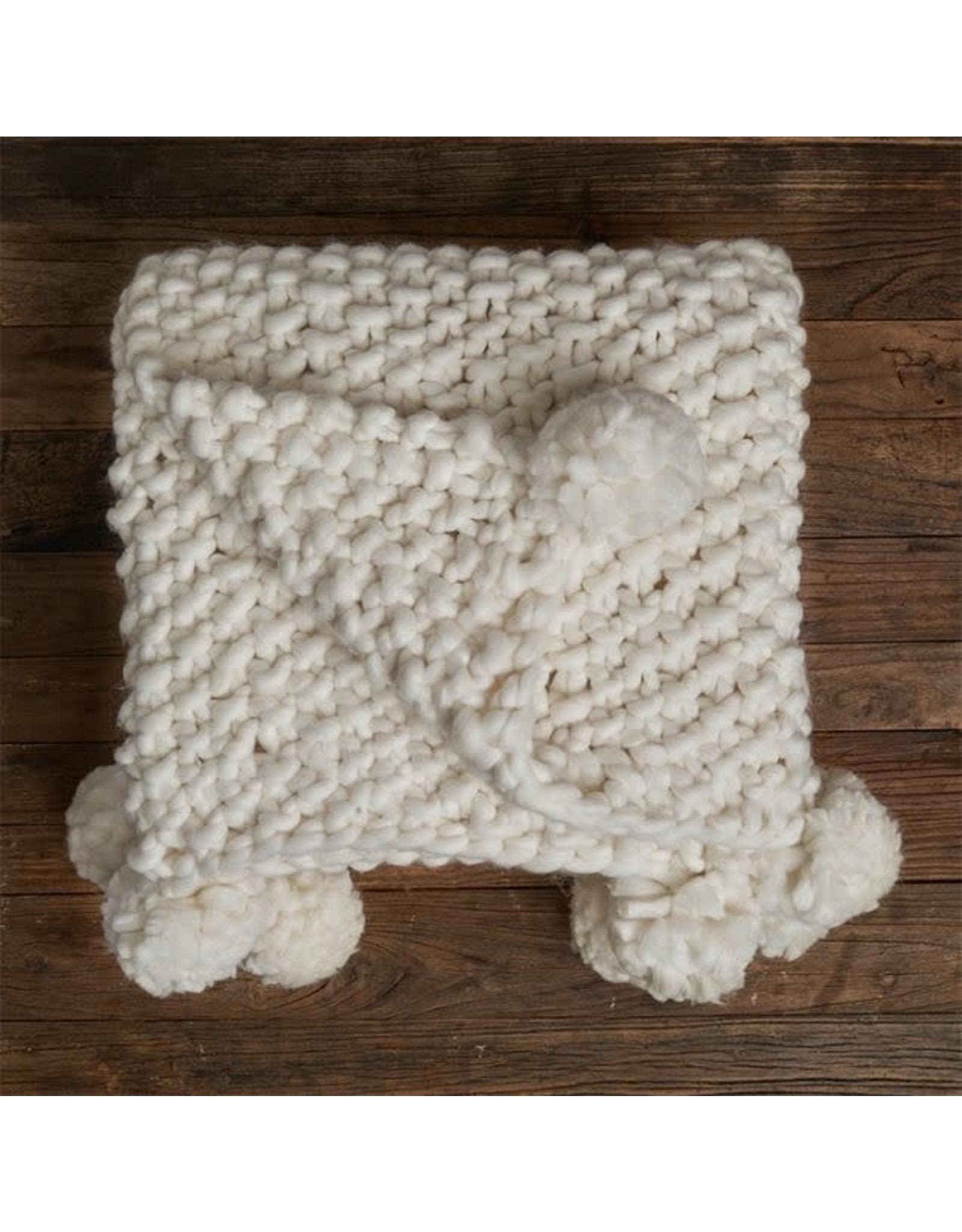 Lemon White Chunky Poms Pebble Blanket