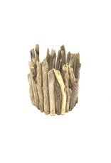 Hurricane Driftwood Candle With Pine Bark Candle