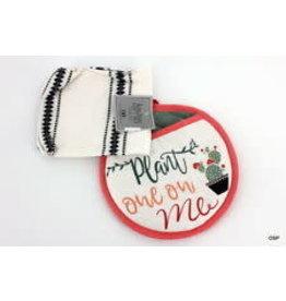 Design Imports kitchen Set Pot Holder&Towel Pink Cactus