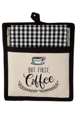 Design Imports Kitchen Set Pot Holder&Towel Coffee