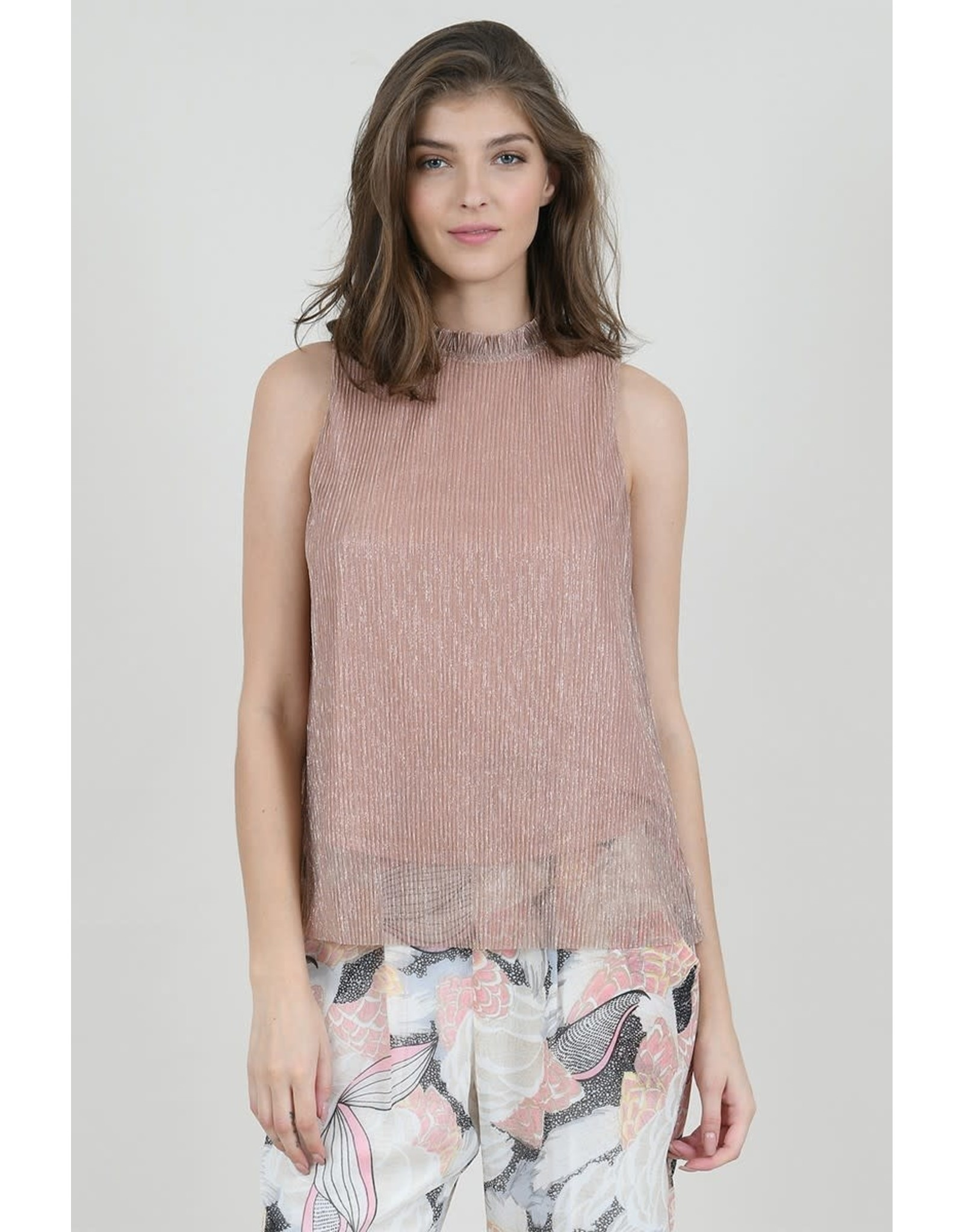 Molly Bracken, Top With Shimmering  Gold Mock