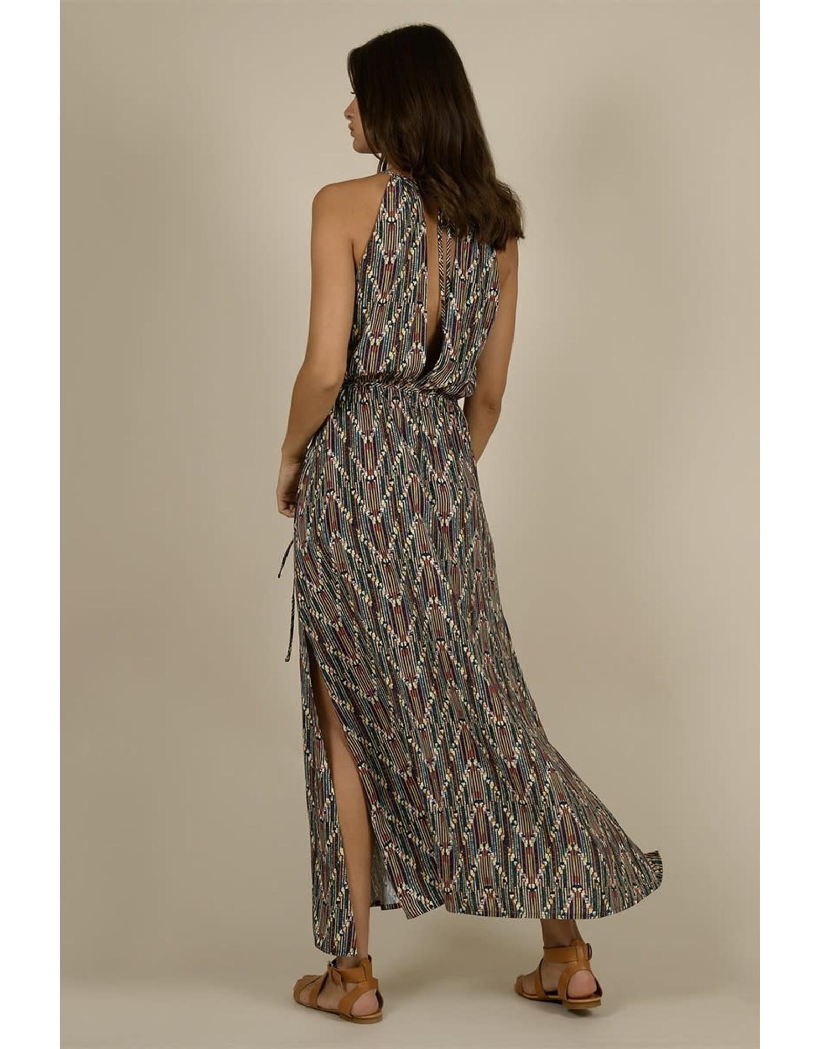Molly Bracken, Maxi Printed Dress, Beige