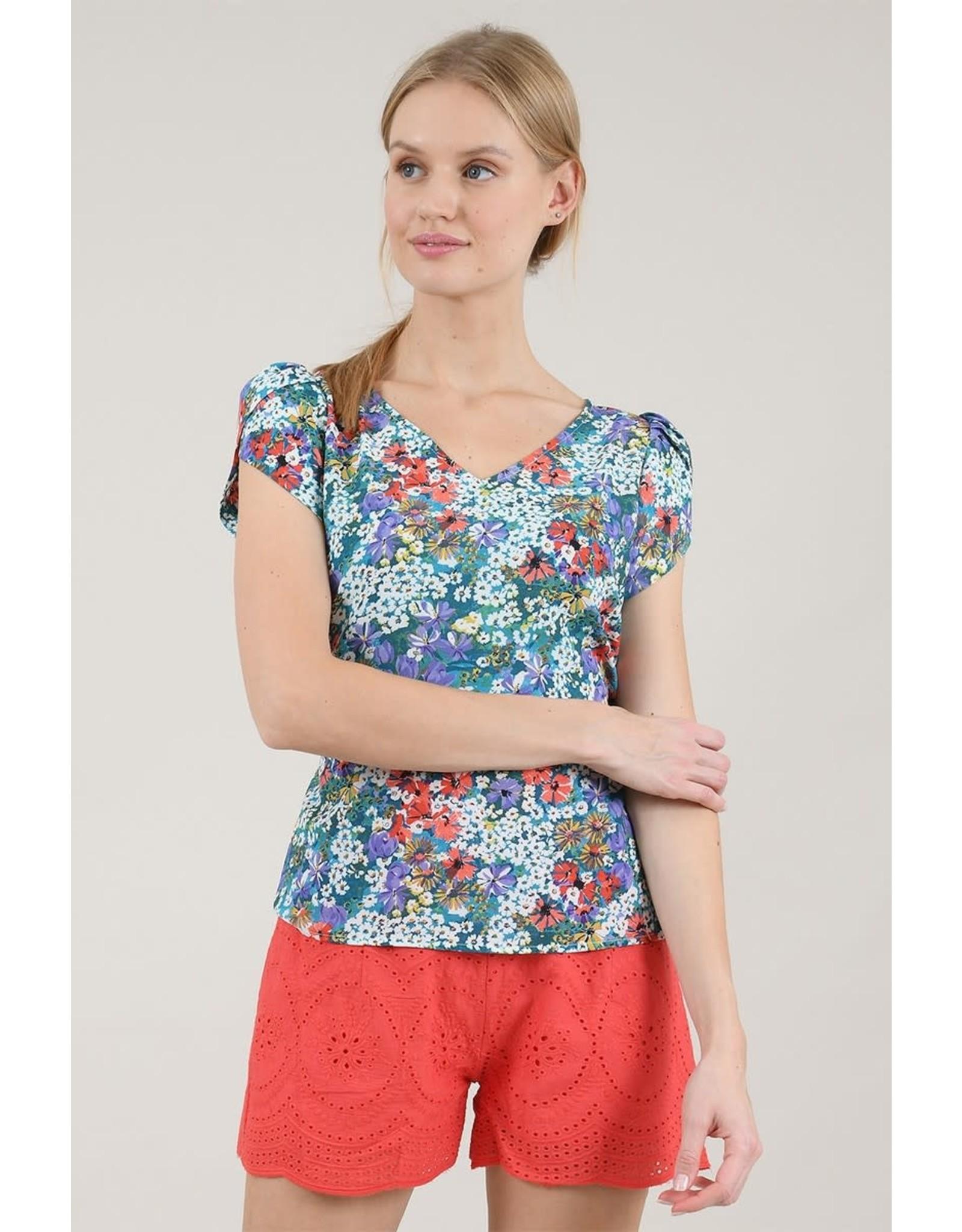 Molly Bracken, Flower Print Blouse, Daisy White