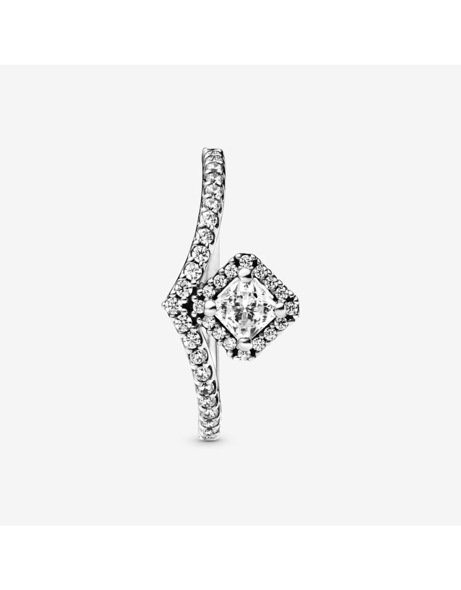 Pandora Pandora Ring,(198420C01)  Square Sparkling Wishbone