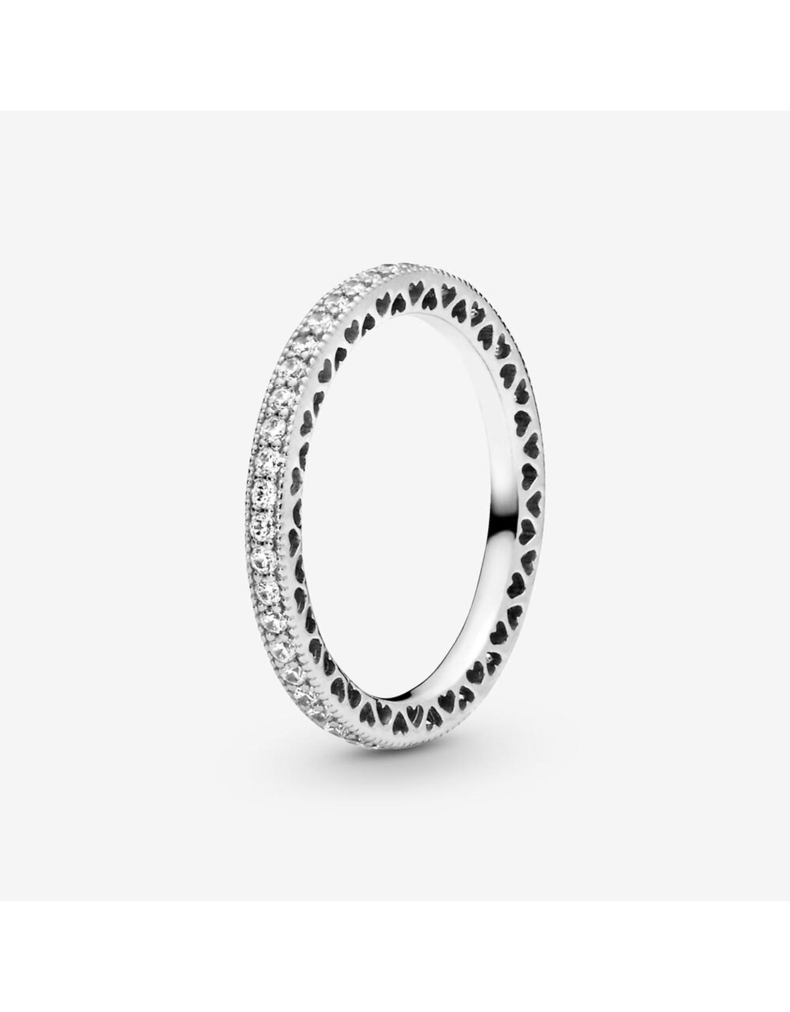 Pandora Pandora Ring,(190963CZ) Hearts Of Pandora, Clear CZ