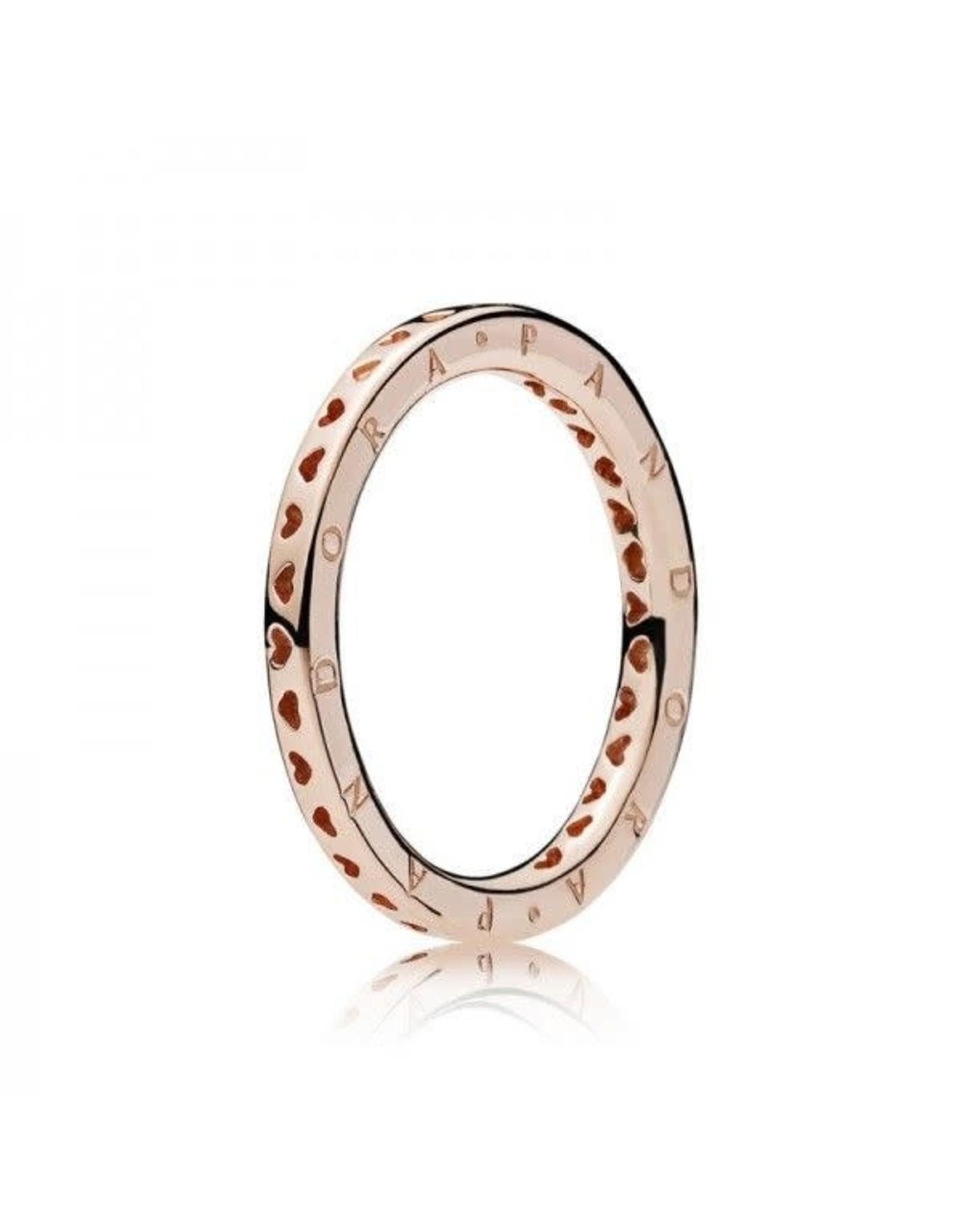 Pandora Pandora Ring, Rose Gold, Hearts & Pandora Logo