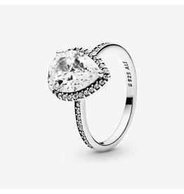 Pandora Pandora Ring,( 196251CZ) Sparkling Teardrop Halo