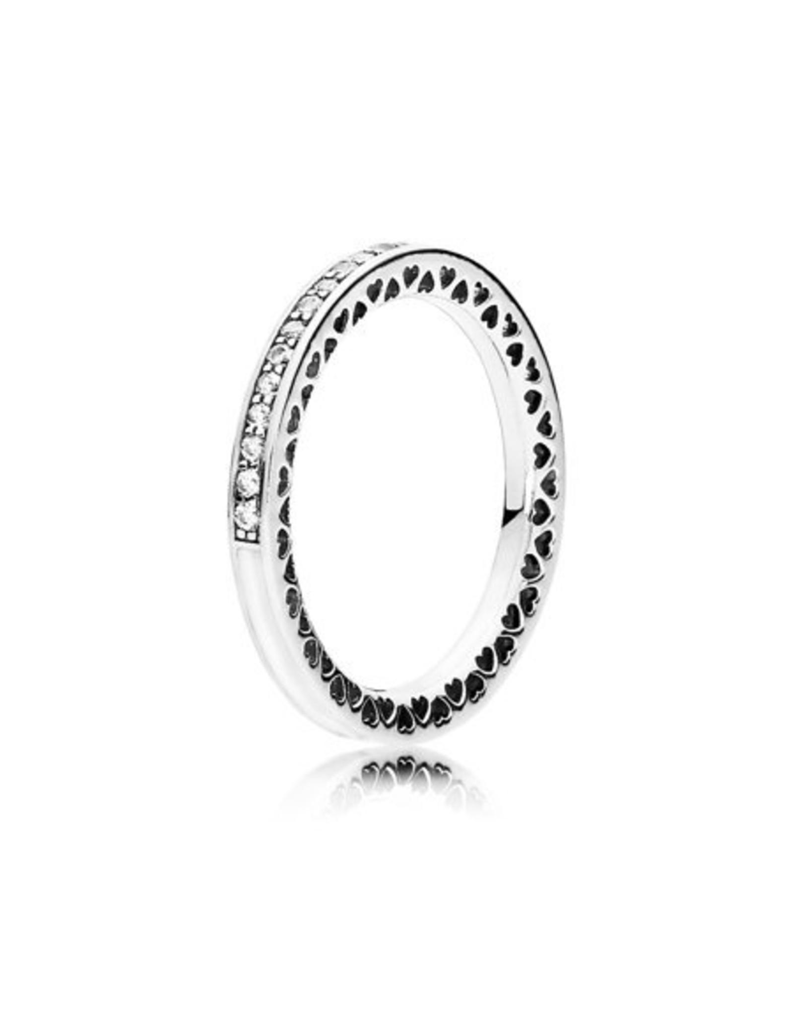 Pandora Pandora Ring, Radiant Hearts Of Pandora, Silver Enamel & Clear CZ