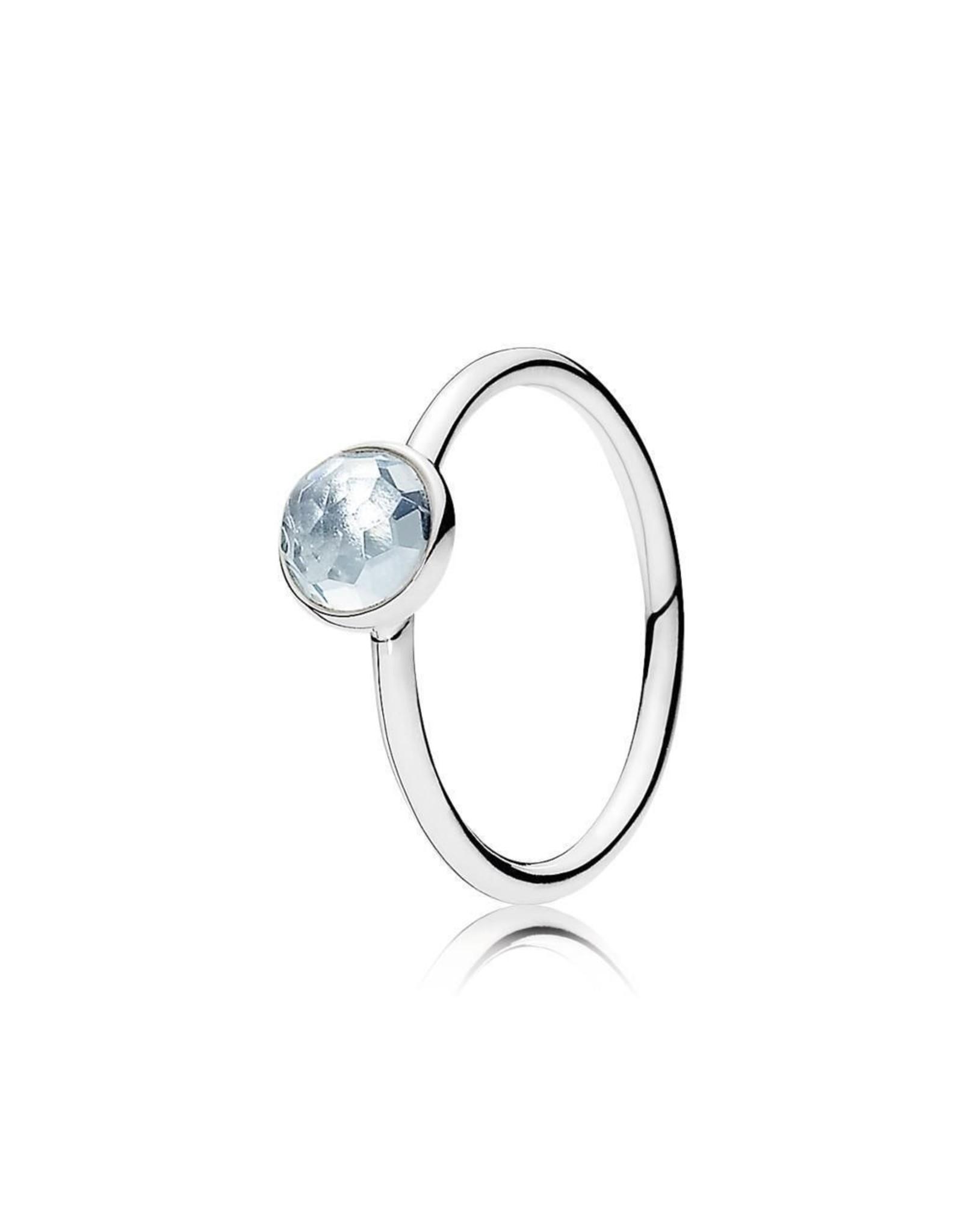 Pandora Pandora Ring, March Droplet, Aqua Blue