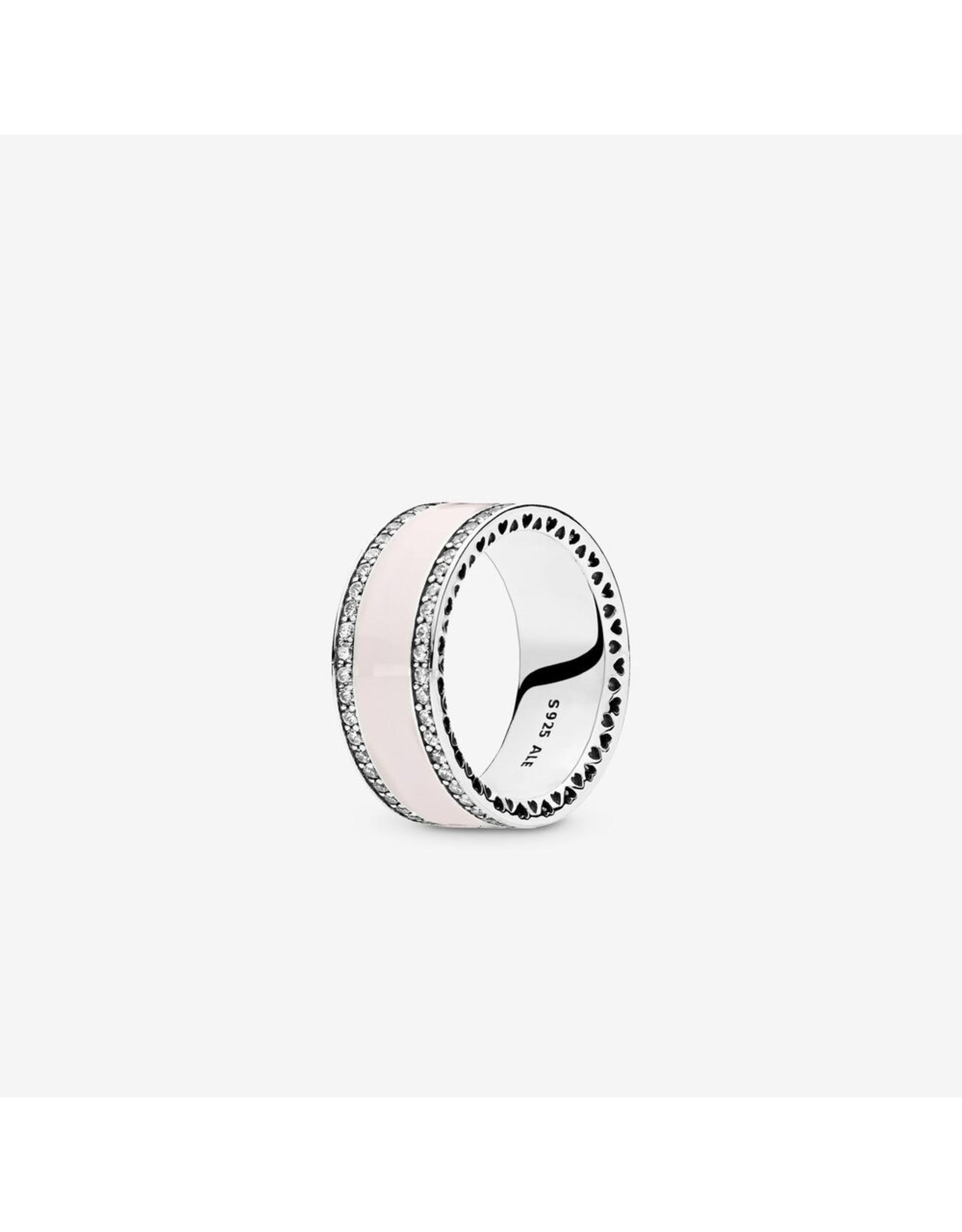 Pandora Pandora Ring, Hearts of Pandora, Soft Pink Enamel & Clear CZ