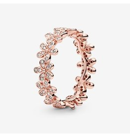 Pandora Pandora Ring, 180934CZ, Rose Gold, Dazzling Daisy Band, Clear CZ