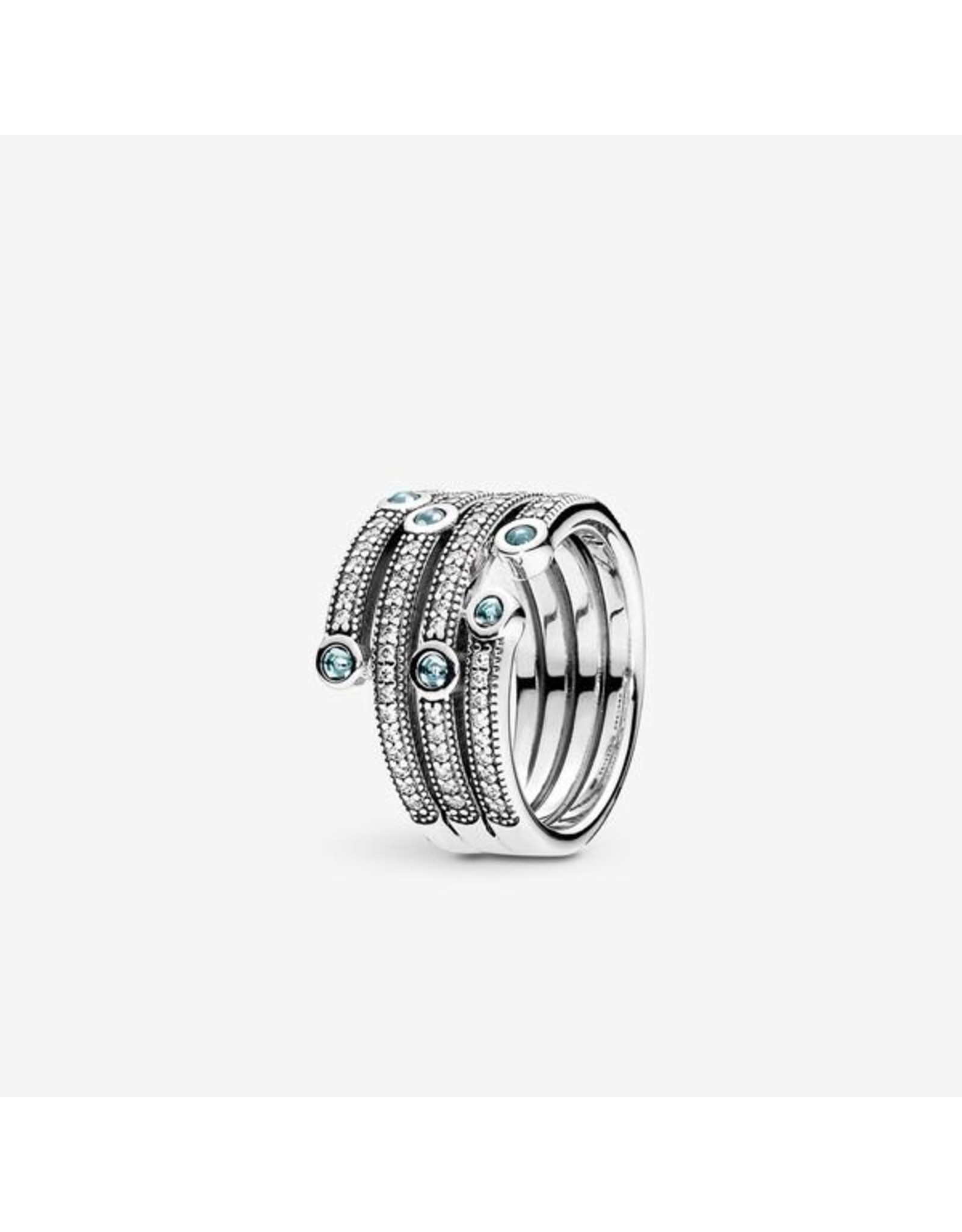 Pandora Pandora Ring,  Shimmering Ocean with Frosty Mint and Clear CZ