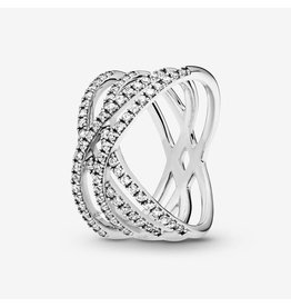 Pandora Pandora Ring, Entwined Lines Ring, Clear CZ