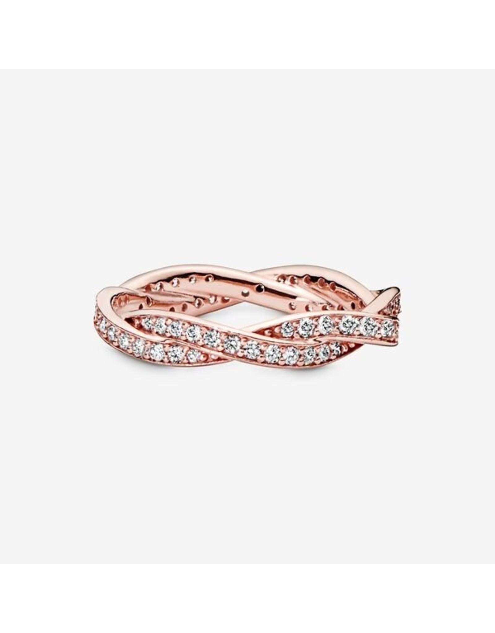 Pandora Pandora Ring, (180892CZ) Rose Gold, Twist Of Fate, Clear CZ