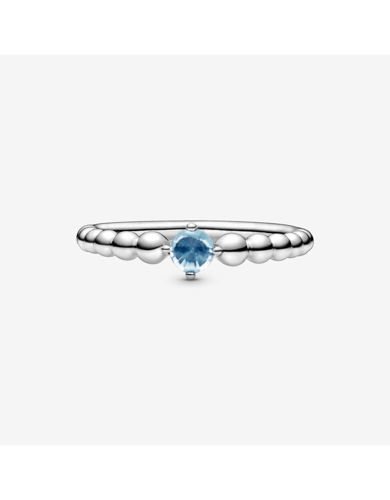 Pandora Sterling silver ring with treated aqua blue topaz size 50