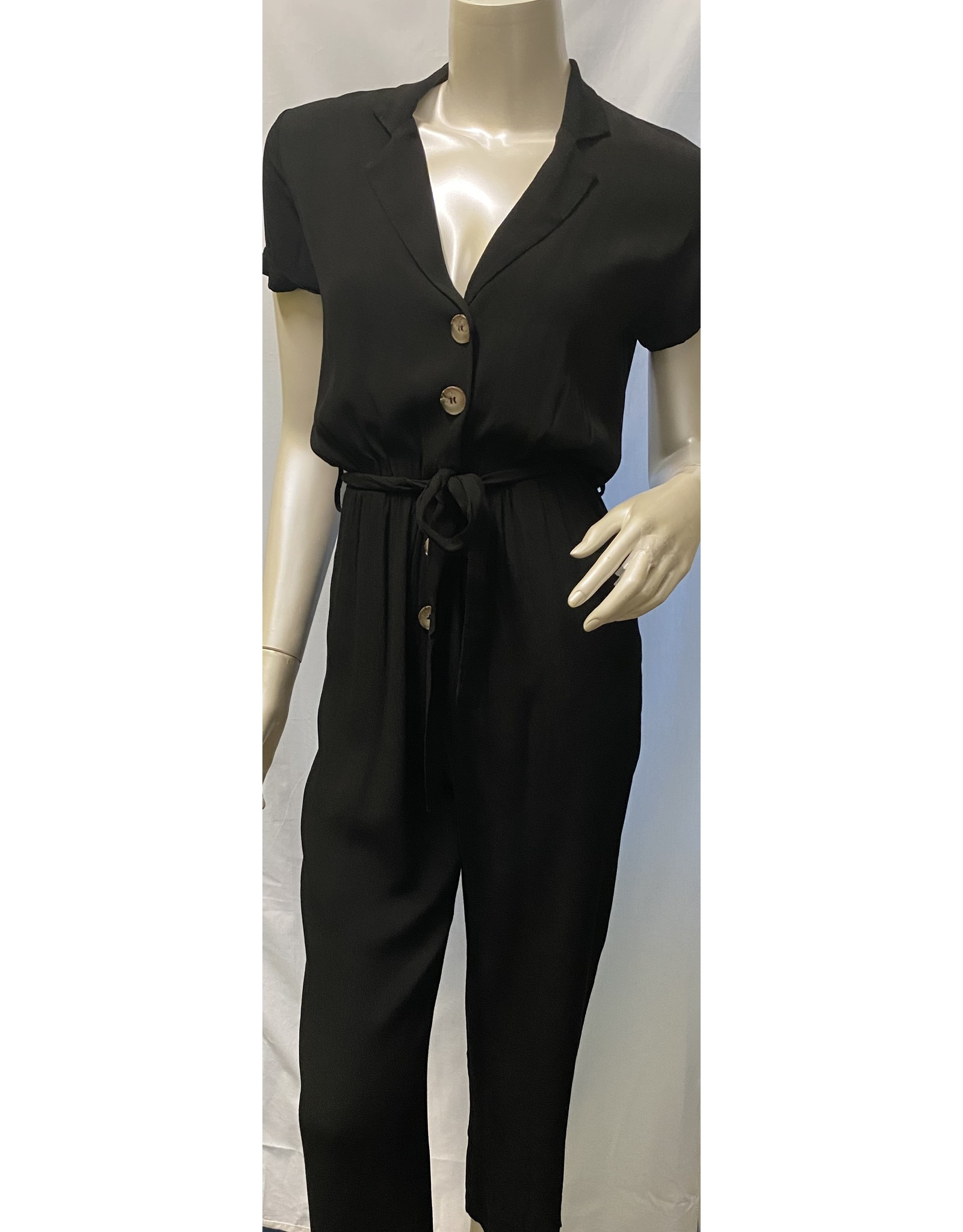 M Made In Italy Woven Front Button Jumpsuit