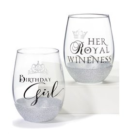 Her Royal Wineness Wine Glass, Silver Sparkles