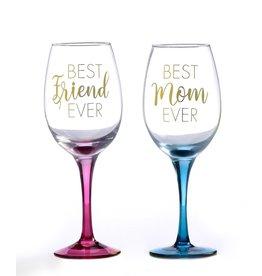 Best Friend Ever, Metallic Printed Wine Glass