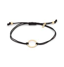 Pilgrim Friendship Bracelet, Gold Plated Ring, Black