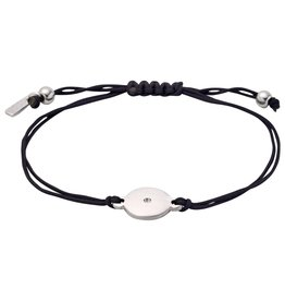Pilgrim Friendship Bracelet, Silver Plated, Black