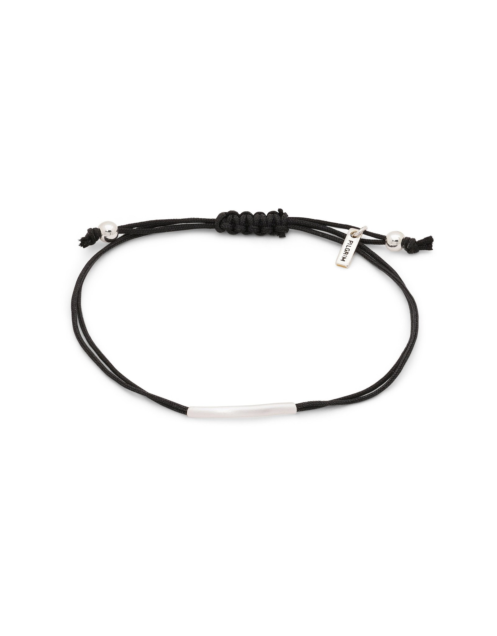 Pilgrim Friendship Bracelet, Straight Silver Plated, Black