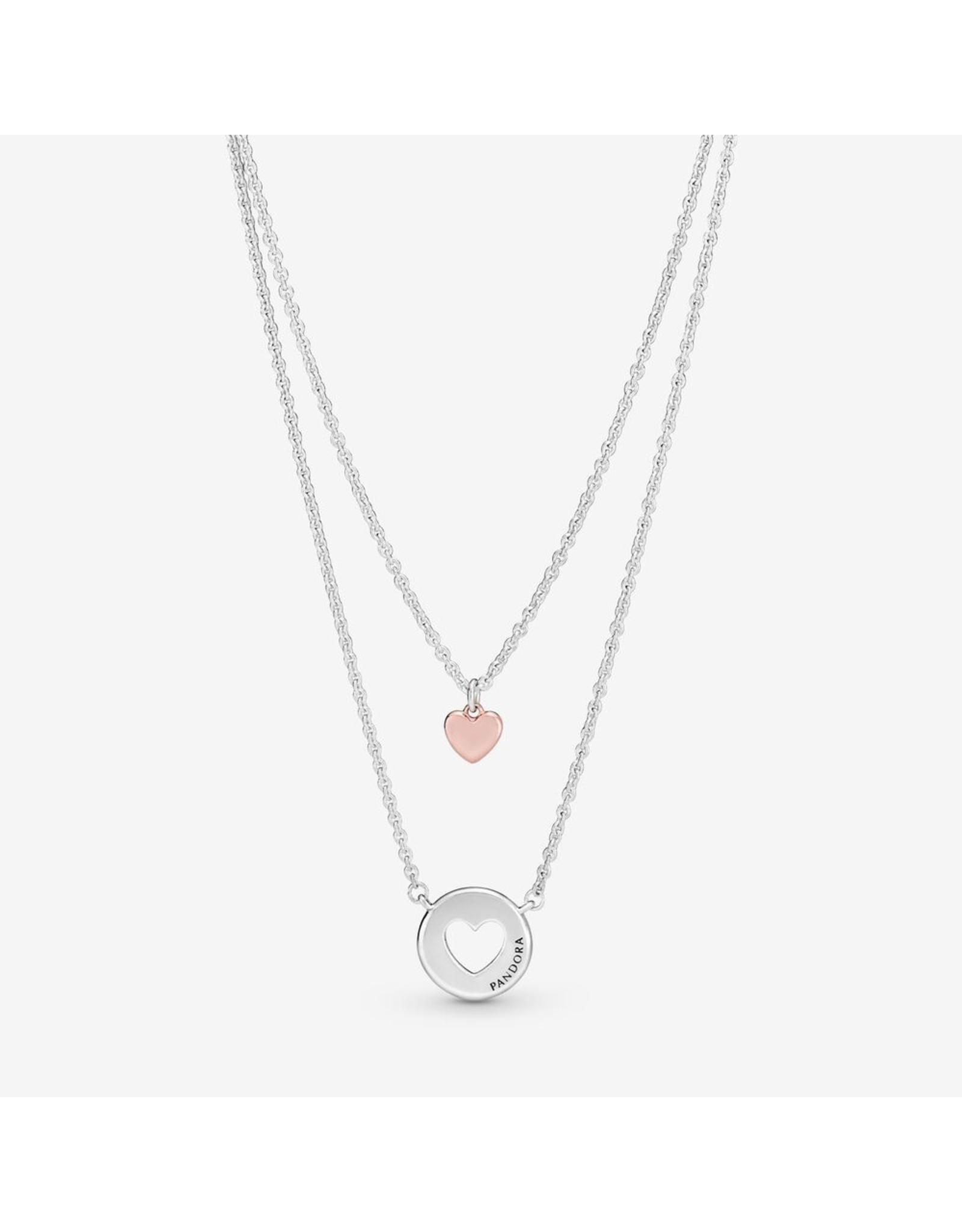 Pandora Pandora Necklace,(388083) Layered Heart Pandora Rose Gold And Silver 50 cm