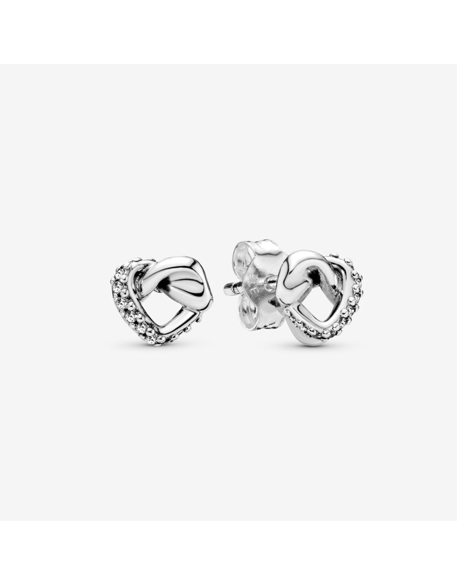 Pandora Pandora Earrings,298019CZ, Knotted Hearts Silver Stud earrings with Clear CZ
