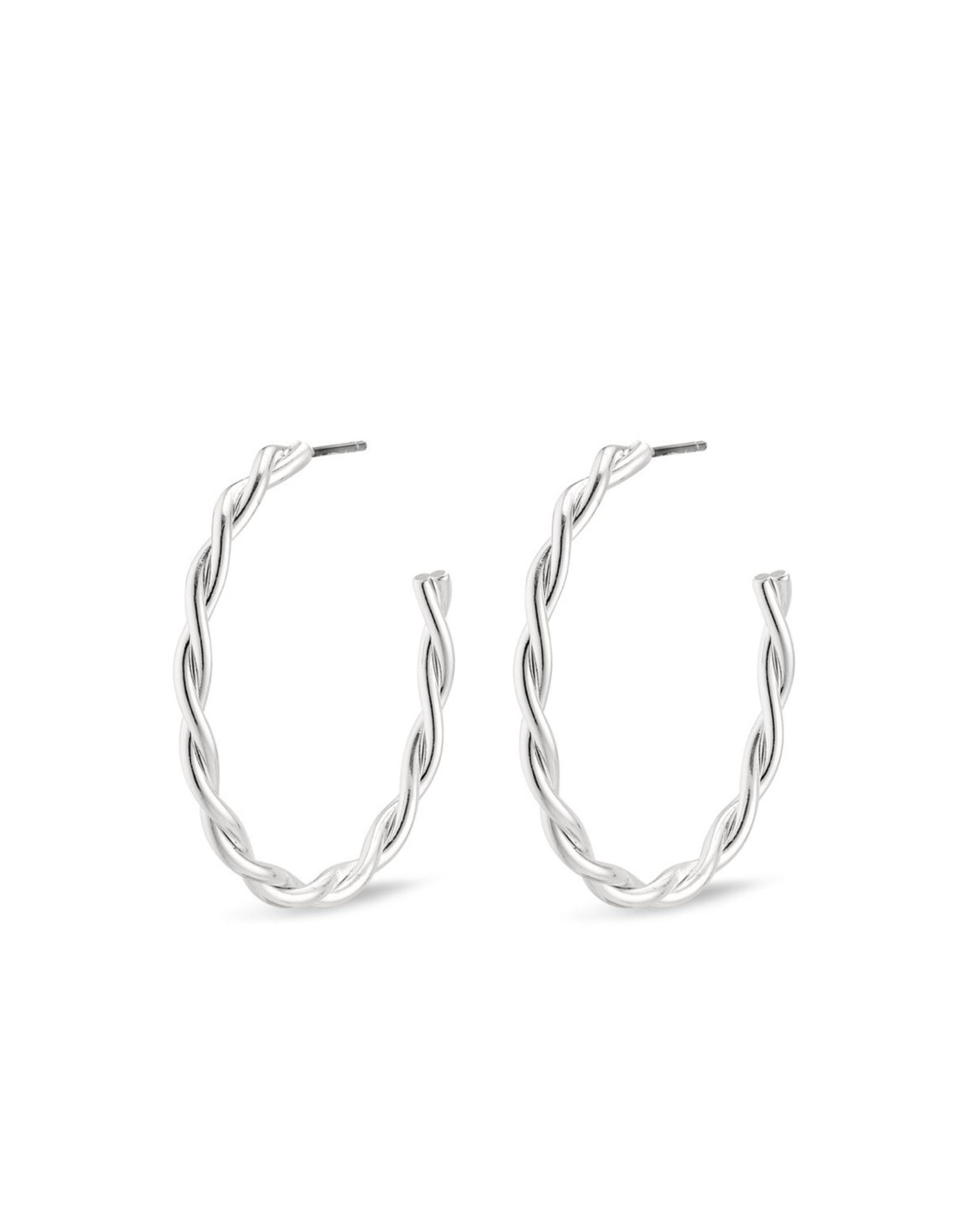 Pilgrim Pilgrim Earrings, Naja Hoops, Silver Plated