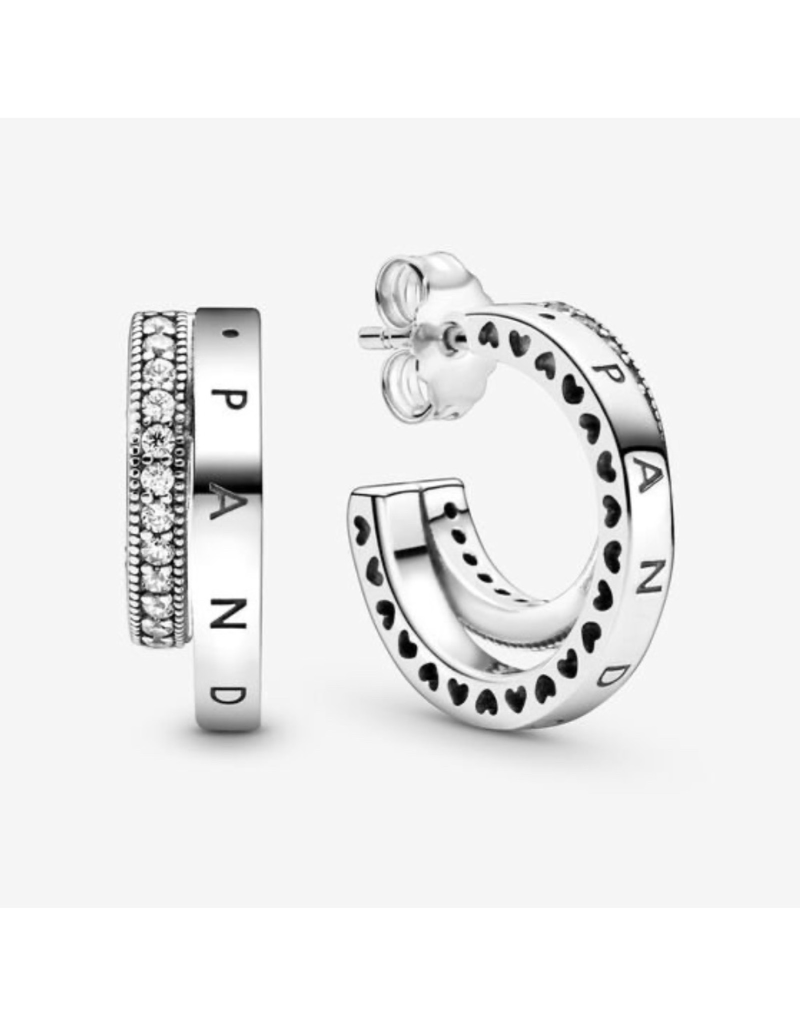Pandora Pandora Signature Earrings, 299056C01,Sterling Silver Stud, Clear CZ