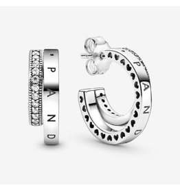 Pandora Pandora Signature Earrings, 299056C01,Sterling Silver Stud, Clear CZ