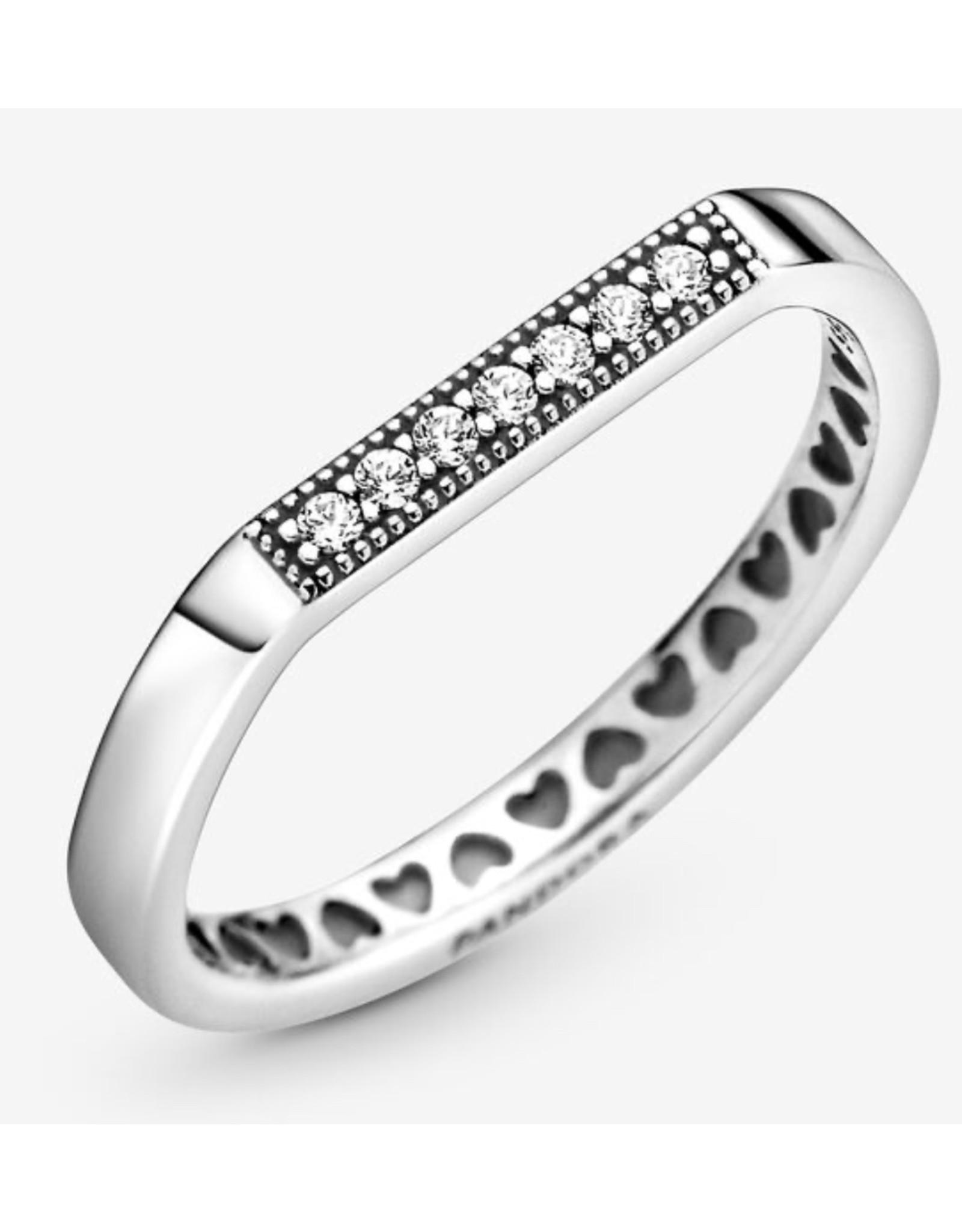 Pandora Pandora Ring, 199041C01, Logo Bar ClearCZ