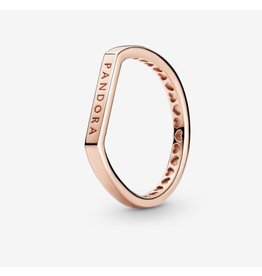 Pandora Pandora Ring, 189048C00, Logo Bar, Rose Gold