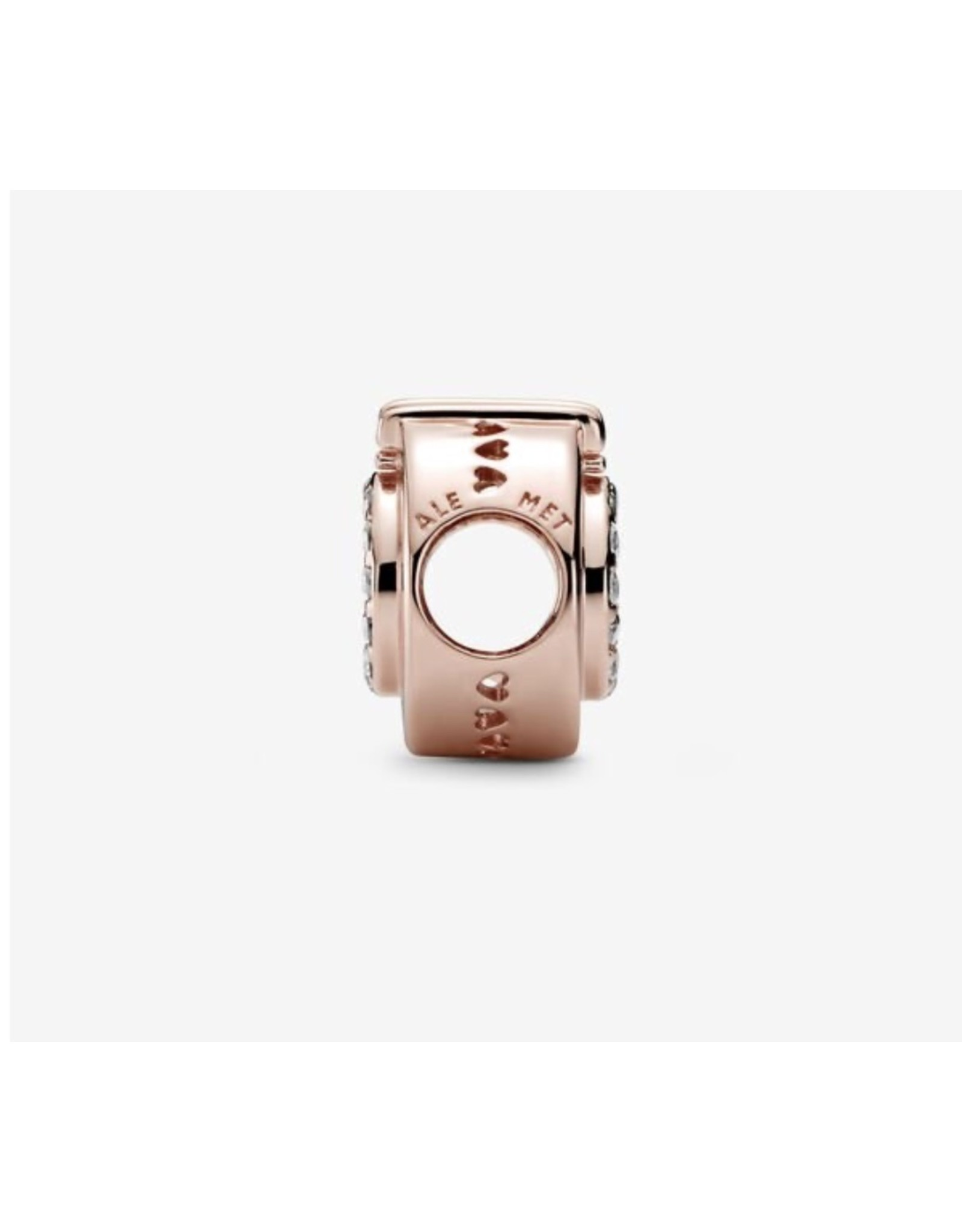 Pandora Pandora Charm,789059C01, Signature Open center Pave Crown O Clear CZ Rose Gold