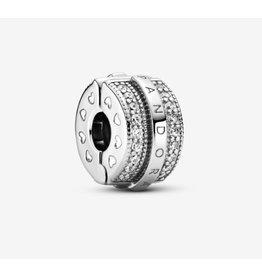 Pandora Pandora Clip,799042C01, Sparkling Pave Lines & Logo, Clear CZ