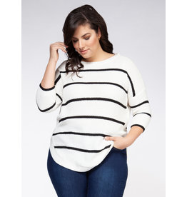 Dex Plus 3/4 Sleeve Drop ShoulderRound Hem Sweater