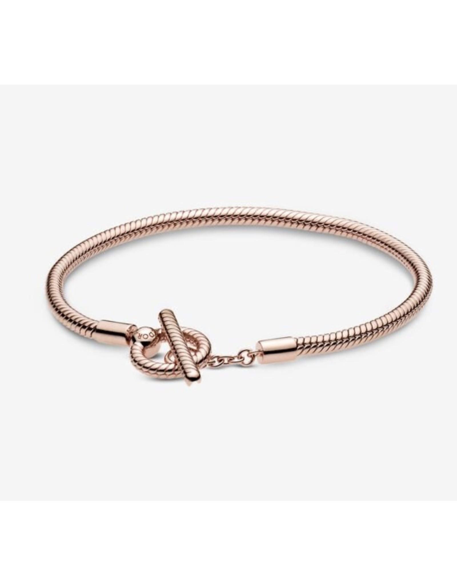 Pandora Pandora Bracelet,589087C00,Moment T-Bar Snake Chain, Rose Gold