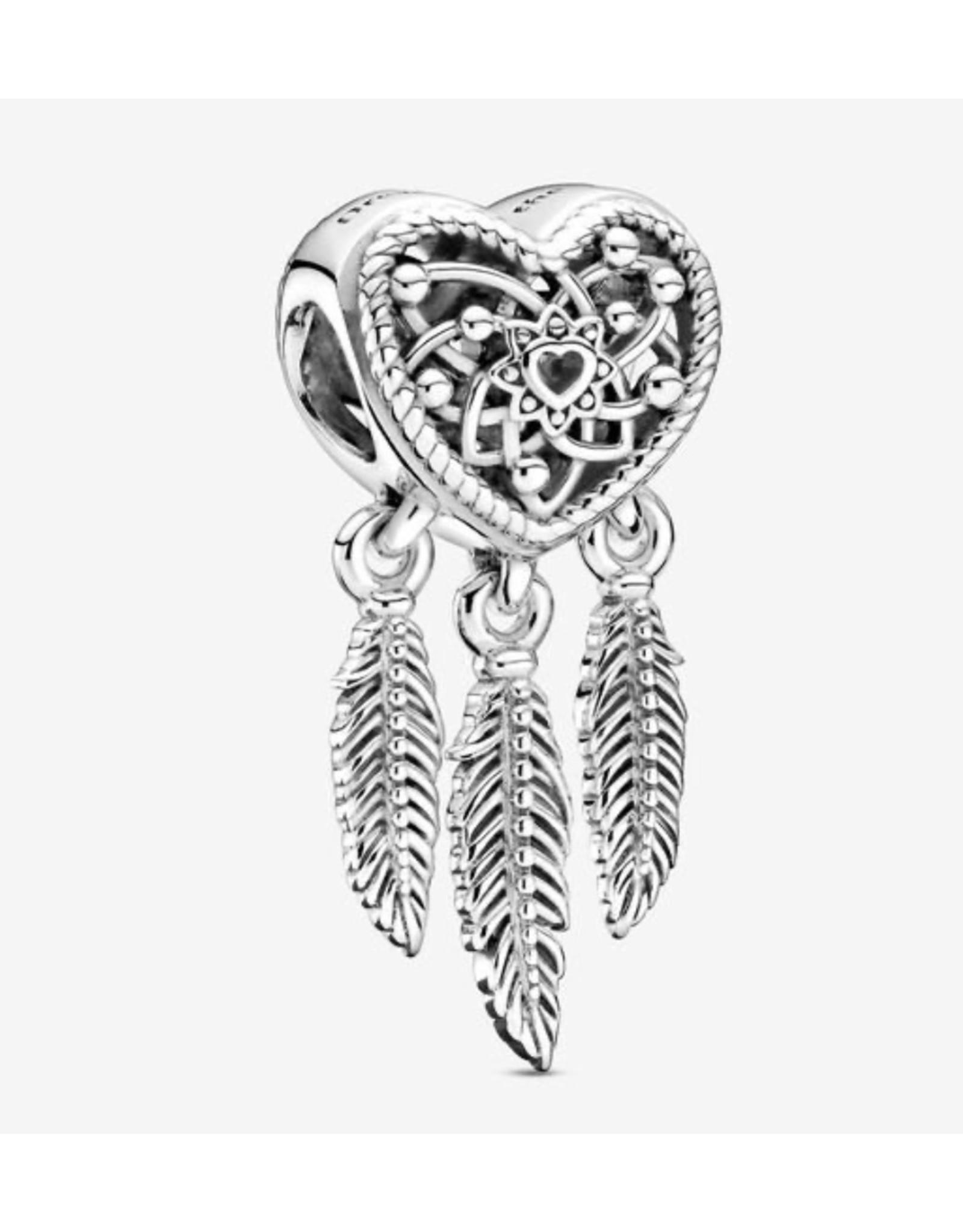 Pandora Pandora Charm,799107C00, Openwork Heart & Three Feathers Dreamcatcher, Sterling Silver