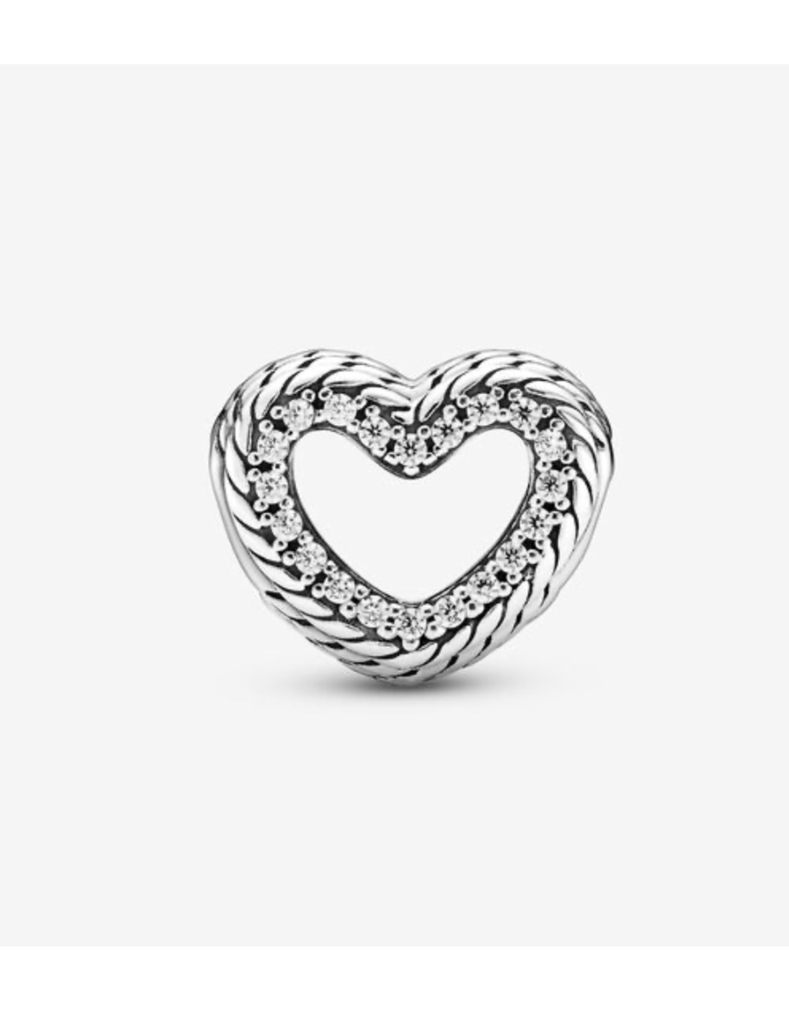 Pandora Pandora Charm,799100C01, Snake Chain Pattern Open Heart, Sterling Silver,Clear CZ