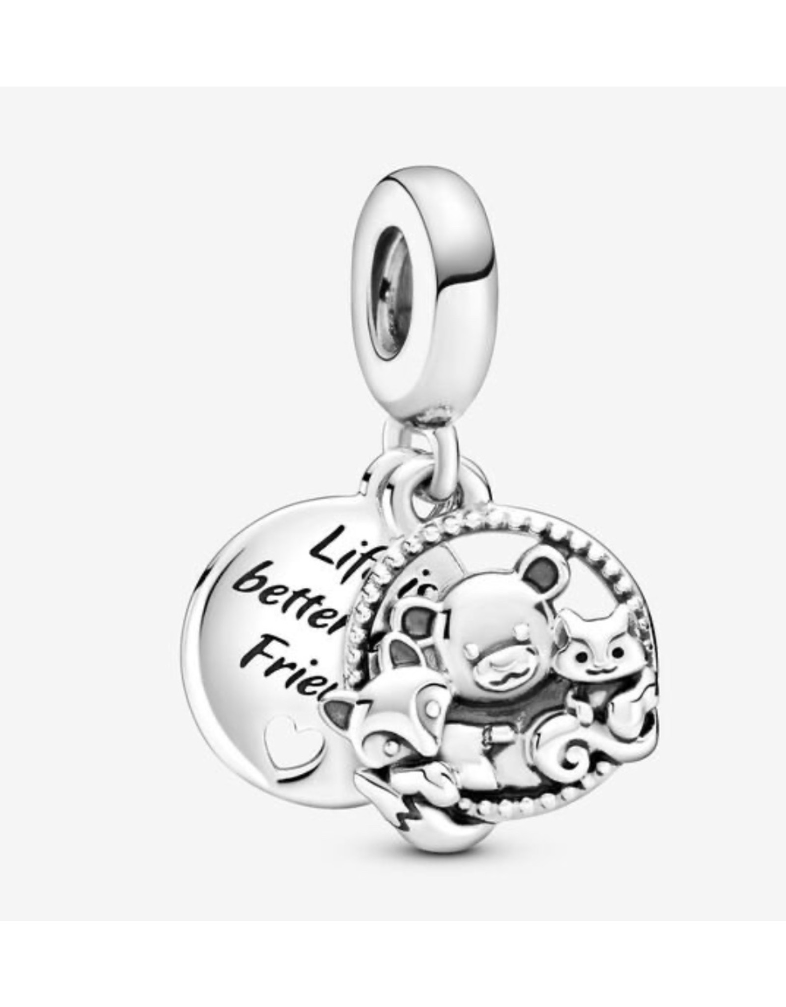 Pandora Pandora Charm,799078C00, Bear, Fox&Squirrel, Forest Familly, Sterling Silver