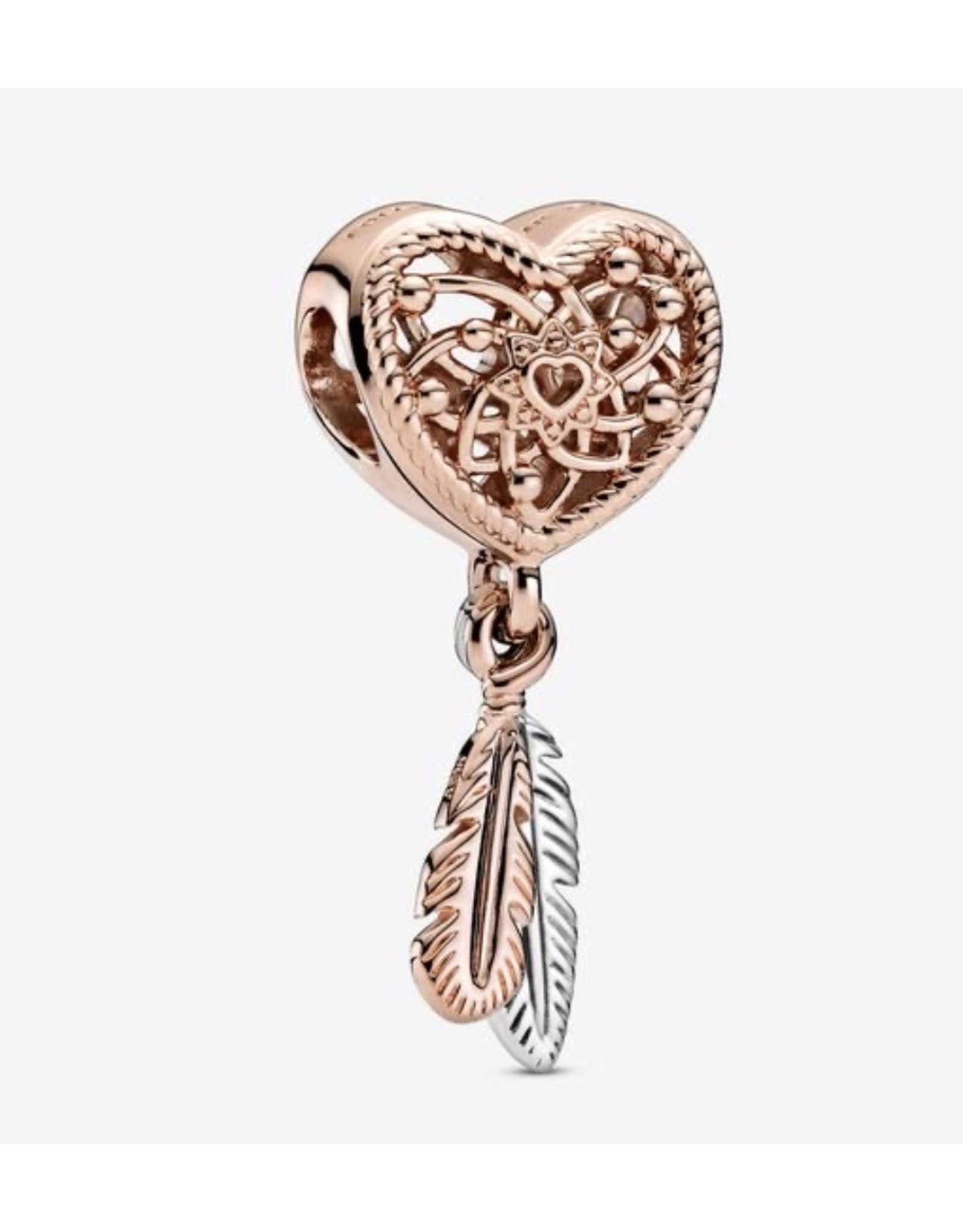 Pandora Pandora Charm,789068C00, Openwork Heart&Two Feathers Dreamcatcher, Rose Gold