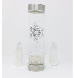 Zenature Crystal Infuser Water Bottle, Clear Quartz, (500ml)