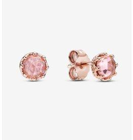 Pandora Pandora Earrings,288311C01, Sparkling Crown Rose Gold, Pink Crystals