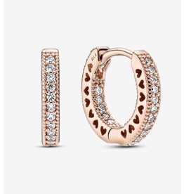 Pandora Pandora Earrings, 286317C01,Rose Gold, Pave Hearts Hoops, Clear CZ