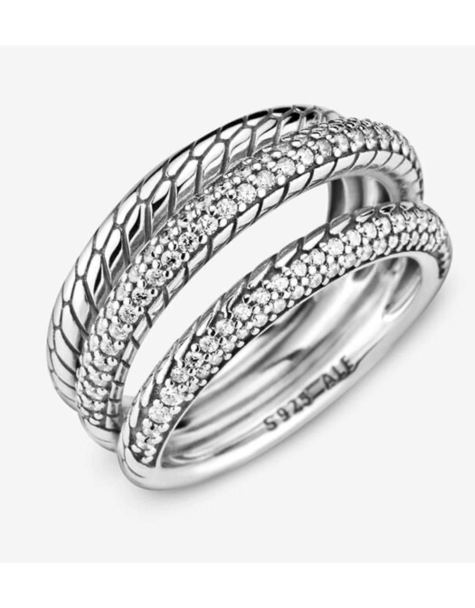 Pandora Pandora Ring,199083C01, Triple Band Pave Snake Chain Pattern, Clear CZ