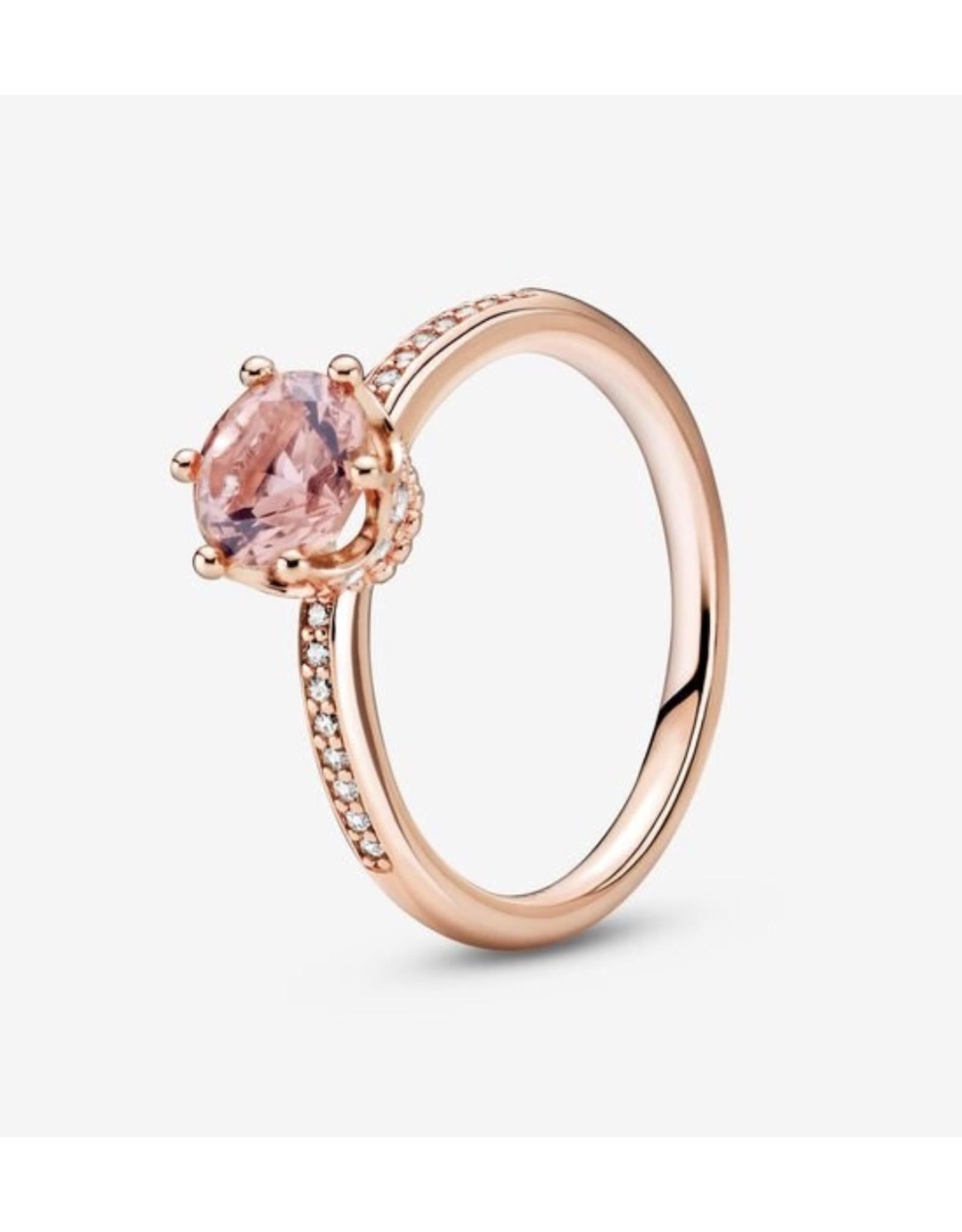 Pandora Pandora Ring,188289C01, Sparkling Crown Solitaire, Pink Crystal&Clear CZ