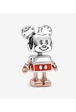 Pandora Pandora Charm,789073C01, Disney Mickey Robot, Sterling Silver With Red Enamel, Rose Gold
