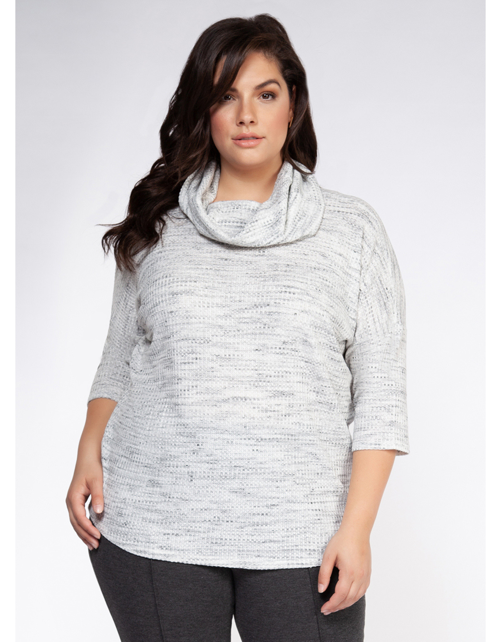 Dex Plus 3/4 Sleeves Cowl Neck Knit Top