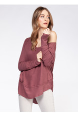 Long Sleeve Wide Scoop Neck Top Ribbed Cuff And Hem