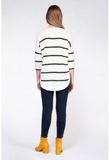3/4 Shoulder Drop Round Hem Sweater
